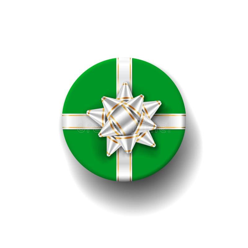 Opinião superior 3d da caixa de presente, fundo branco Fita de prata no giftbox verde Curva atual do projeto para o Natal ilustração royalty free