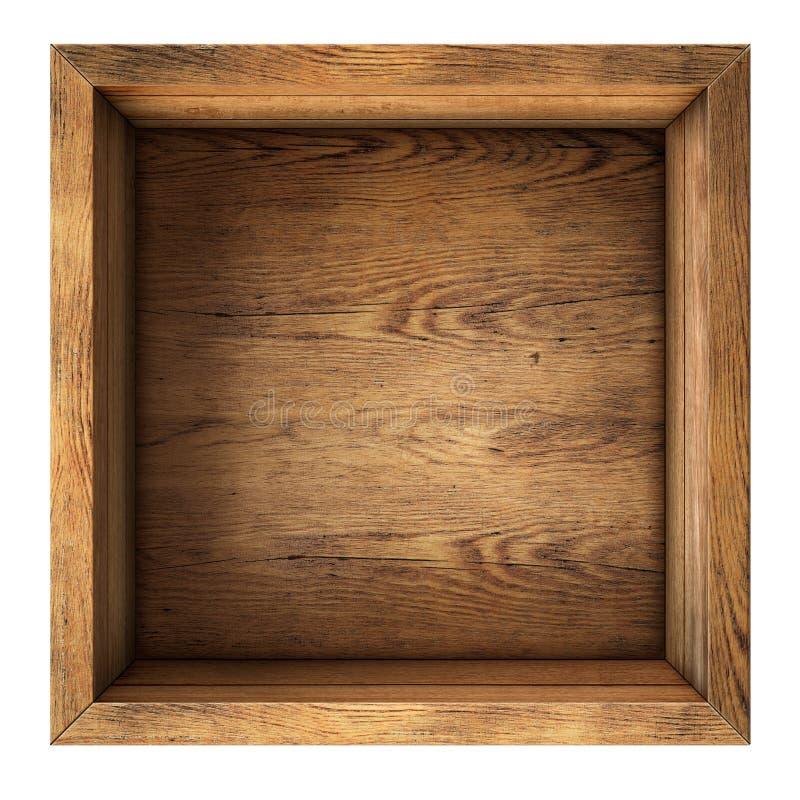 Opinião superior da caixa de madeira velha isolada fotos de stock
