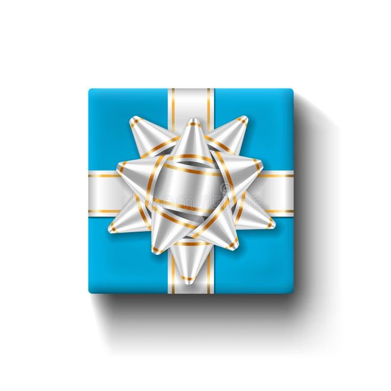 Opinião superior da caixa de presente 3D, fundo branco isolado Fita de prata no giftbox quadrado azul Curva atual do projeto para ilustração do vetor