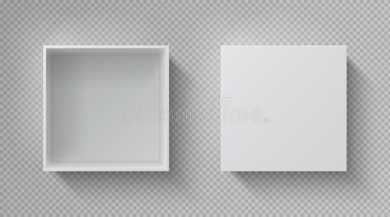 Opinião SUPERIOR da caixa realística O modelo branco aberto do pacote, cartão fechou o bloco de papel vazio da caixa de presente  ilustração do vetor