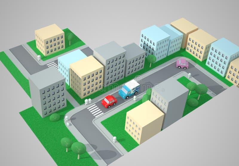 Opinião superior da cidade ilustração royalty free