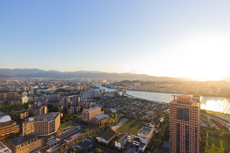 Opinião superior da cidade em Fukuoka fotografia de stock