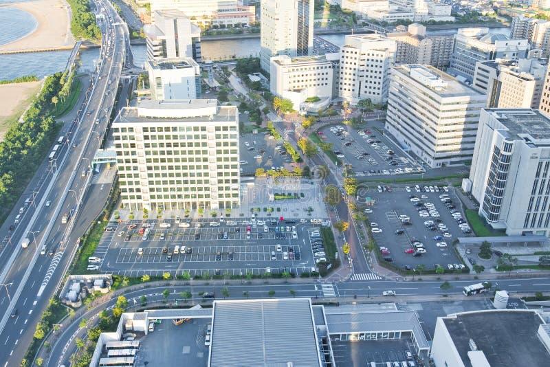 Opinião superior da cidade em Fukuoka imagens de stock royalty free