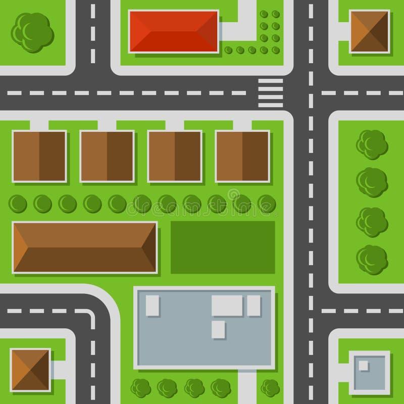 Opinião superior da cidade Teste padrão sem emenda do mapa da cidade Vetor ilustração do vetor