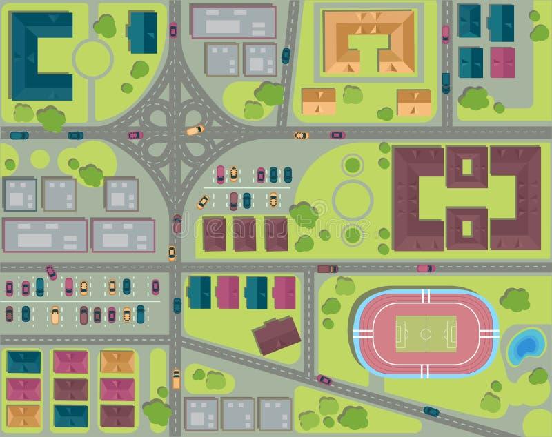 Opinião superior da cidade urbana Vista de acima aéreo ilustração do vetor