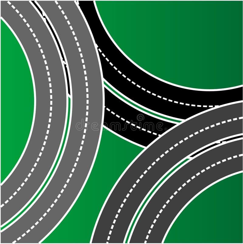 Opinião superior da estrada ilustração do vetor