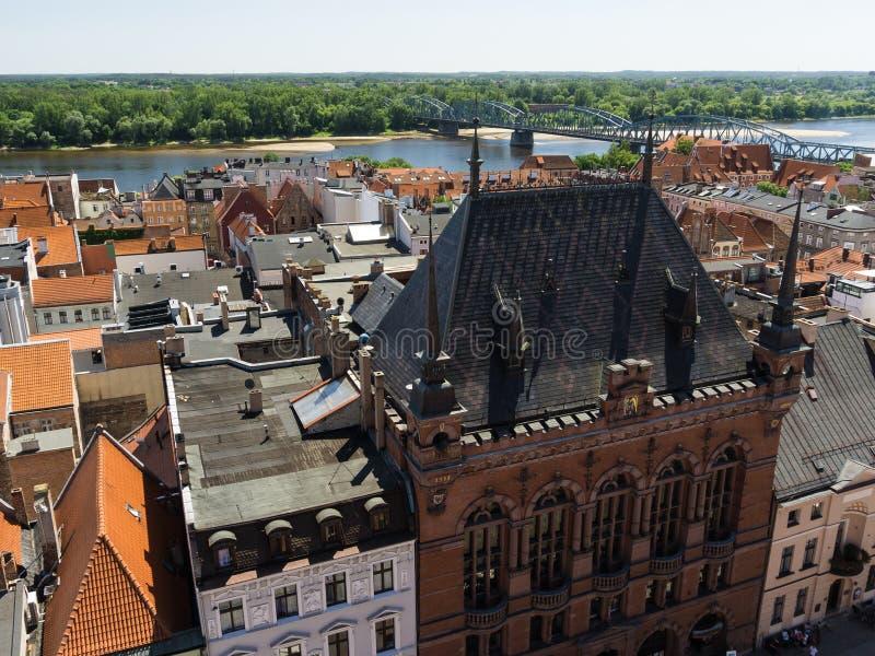 Opinião superior da igreja de Gdansk da praça da cidade fotografia de stock royalty free