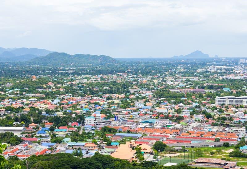 Opinião superior da paisagem da cidade fotografia de stock