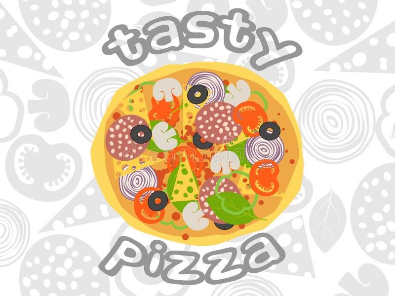 Opinião superior da pizza no fundo branco dos ingredientes ilustração do vetor