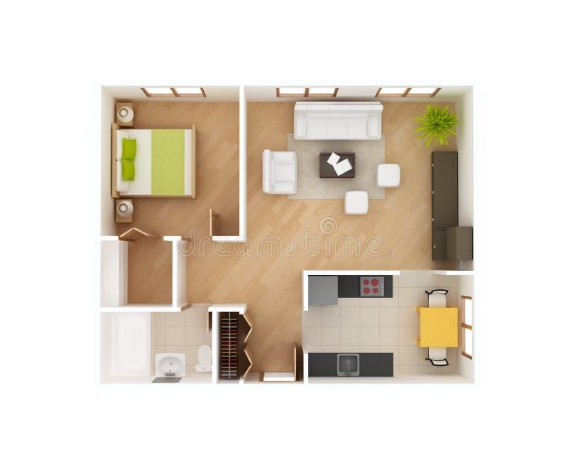 opinião superior da planta baixa da casa 3D ilustração do vetor
