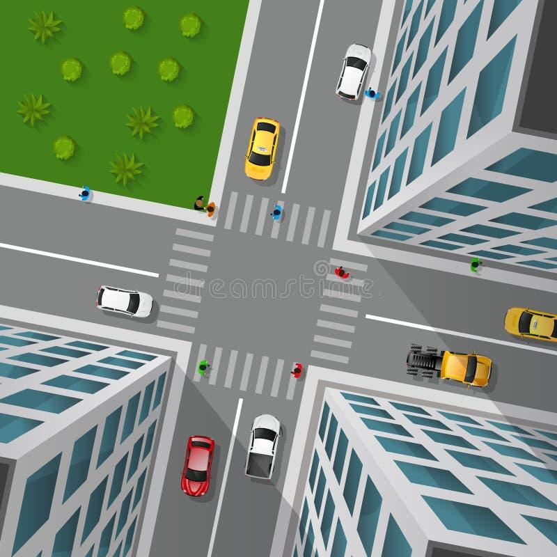 Opinião superior da rua da cidade ilustração stock