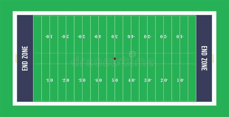 Opinião superior de campo de futebol americano Ilustração do vetor ilustração do vetor