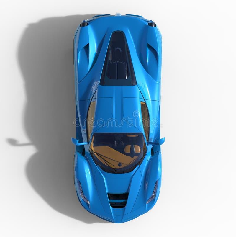 Opinião superior de carro de esportes A imagem de um carro azul dos esportes em um fundo branco ilustração 3D ilustração do vetor