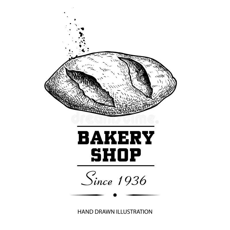 Opinião superior de desenho de esboço do naco do pão Produto tirado mão da loja da padaria do estilo do esboço Manhã fresca ilust ilustração do vetor
