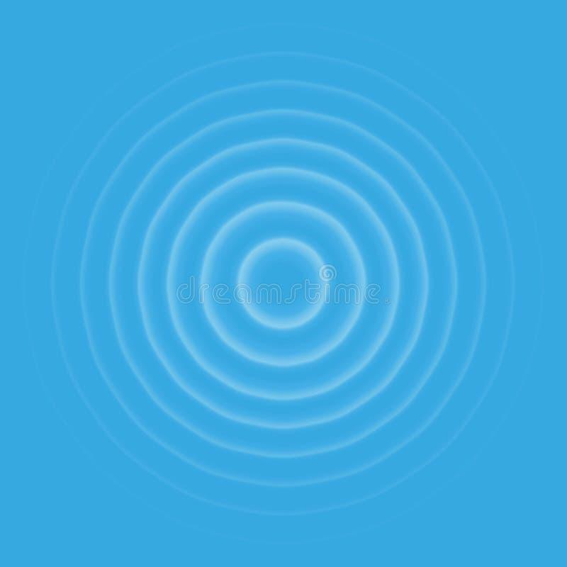 Opinião superior de efeito de ondinha Anéis transparentes da gota da água Onda sadia do círculo isolada no fundo azul ilustração stock