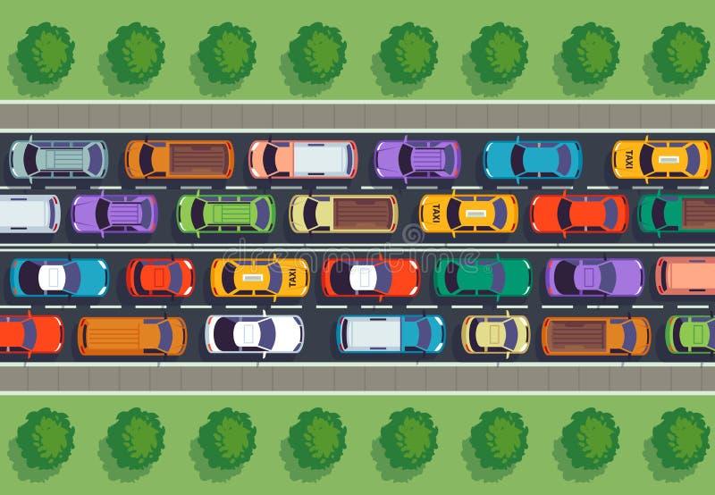 Opinião superior de engarrafamento Muitos carros na estrada, veículos diferentes de cima de Auto vetor infographic ilustração stock