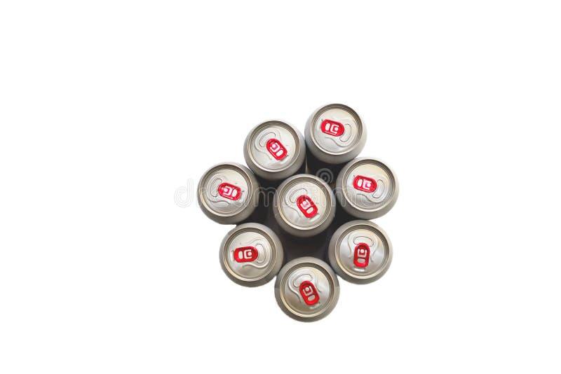 Opinião superior de latas de lata no fundo branco fotografia de stock