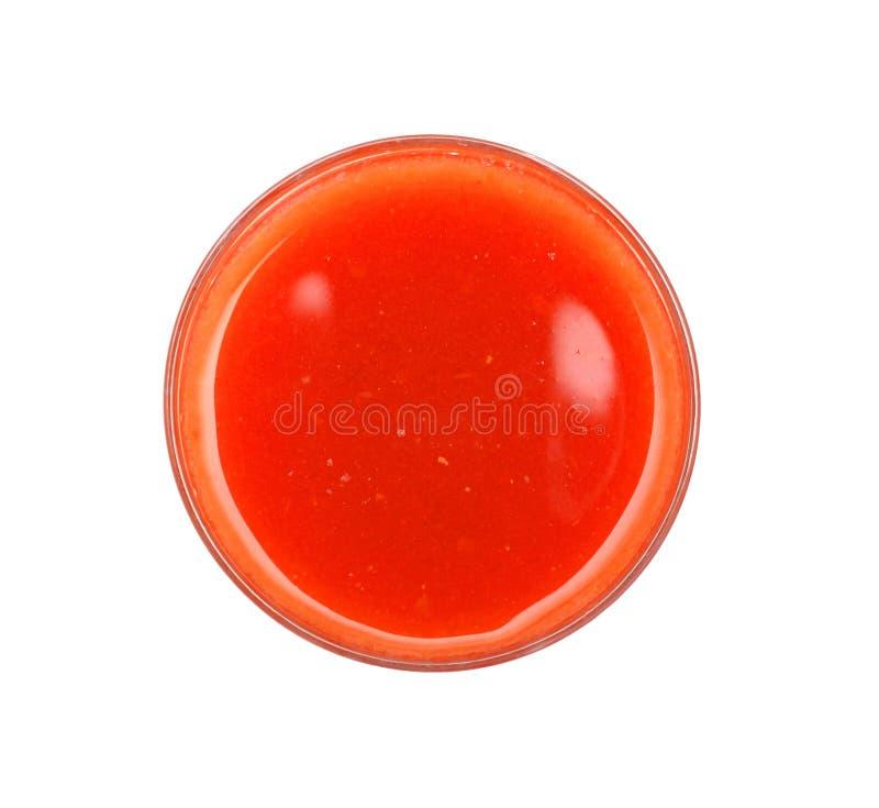 Opinião superior de suco de tomate fotos de stock royalty free