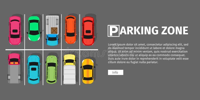Opinião superior de zona de estacionamento ilustração royalty free