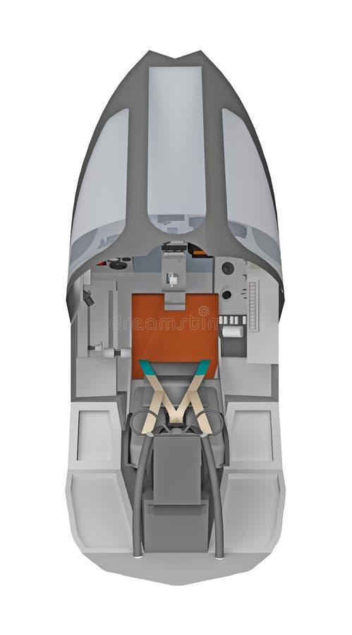 Opinião superior do avião vazio do piloto da cabina do piloto isolada no branco ilustração stock