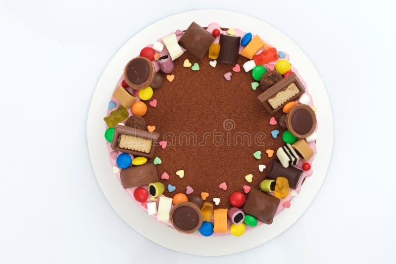 Opinião superior do bolo da musse de chocolate do ` s das crianças foto de stock royalty free