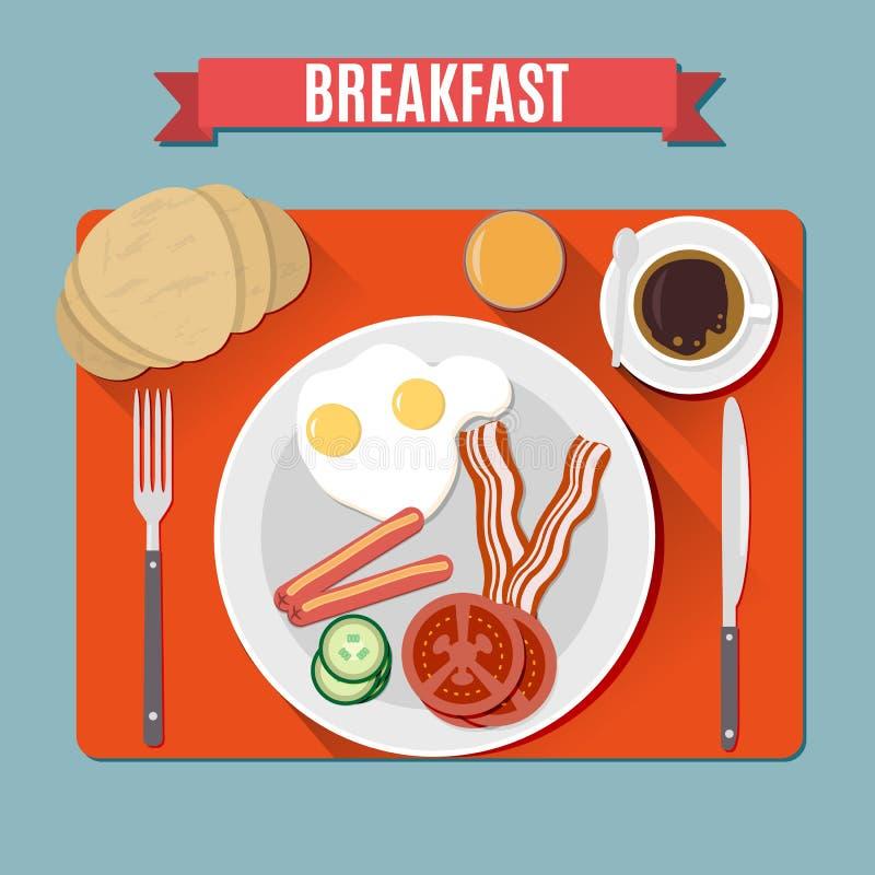 Opinião superior do café da manhã pequeno ilustração royalty free