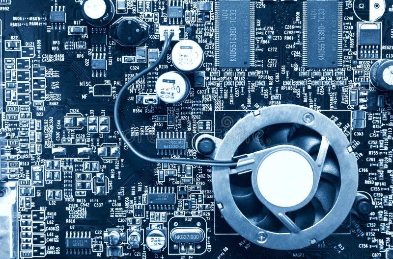 Opinião superior do chip de computador imagem de stock