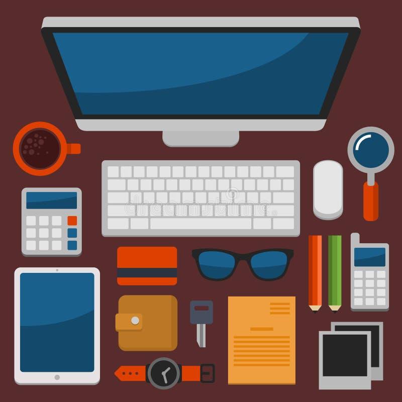Opinião superior do local de trabalho do escritório no vetor liso do projeto ilustração do vetor