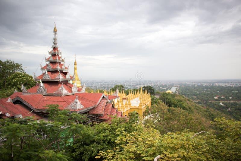 Opinião superior do monte de Mandalay fotos de stock