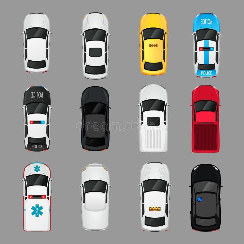 Opinião superior dos ícones dos carros ilustração do vetor