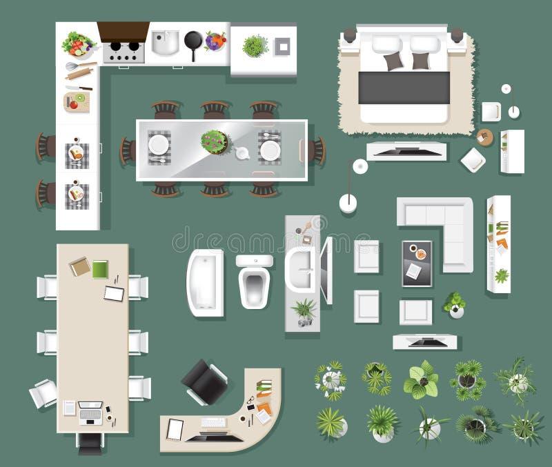 Opinião superior dos ícones interiores, árvore, mobília, cama, sofá, poltrona ilustração royalty free