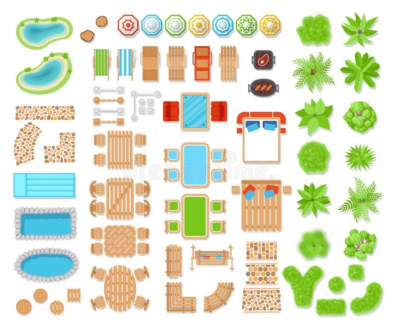 Opinião superior dos elementos da paisagem ilustração stock
