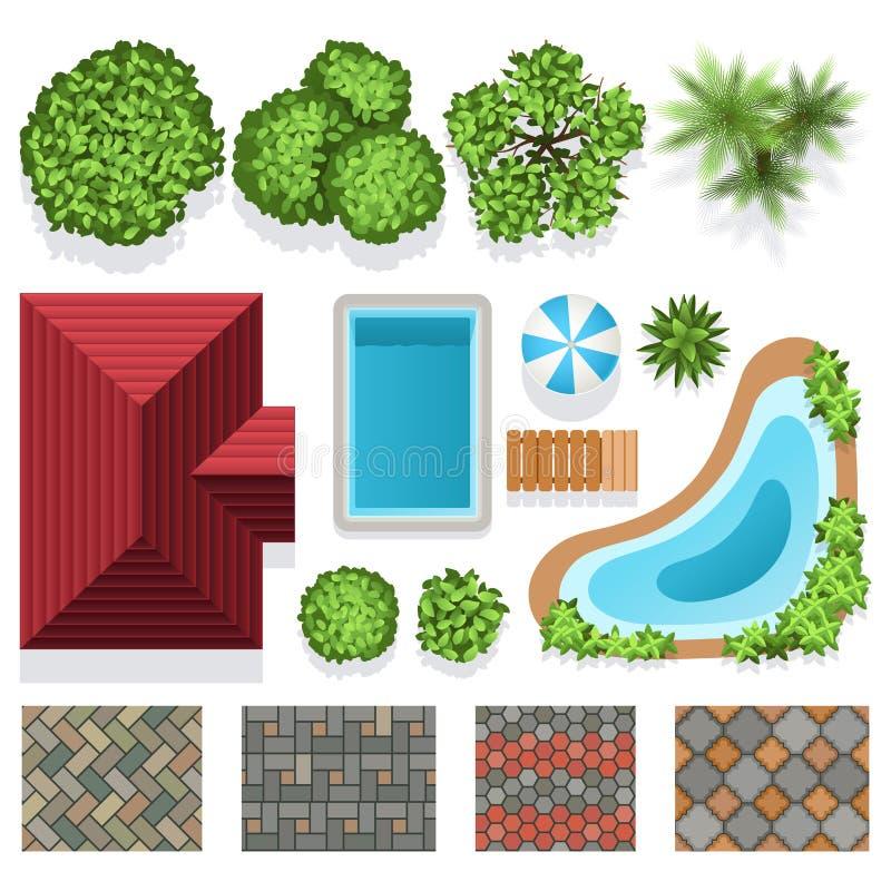 Opinião superior dos elementos do vetor do projeto do jardim da paisagem ilustração do vetor