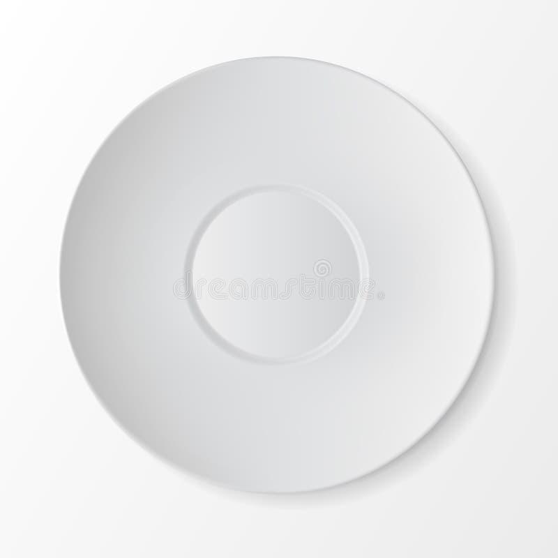 Opinião superior dos pires redondos brancos Tabele o ajuste ilustração stock