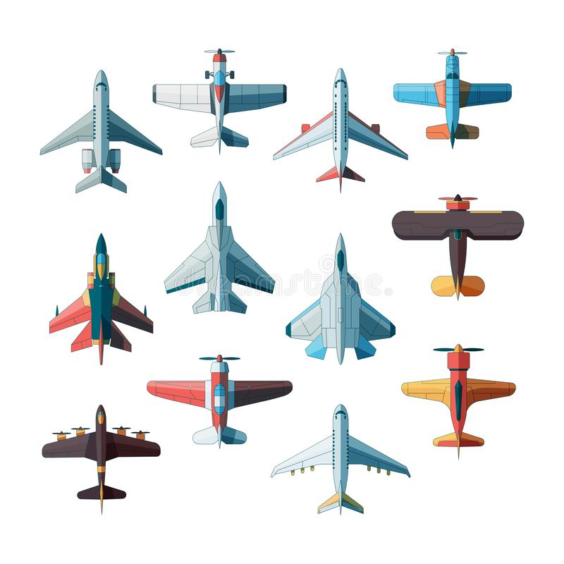 Opinião superior dos planos Imagens lisas do vetor do avião militar do jato isoladas ilustração stock