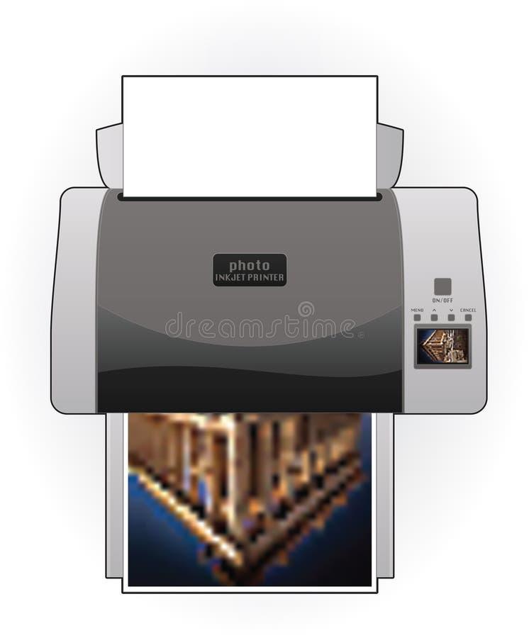 Opinião superior Home média de impressora Inkjet de foto de cor ilustração do vetor