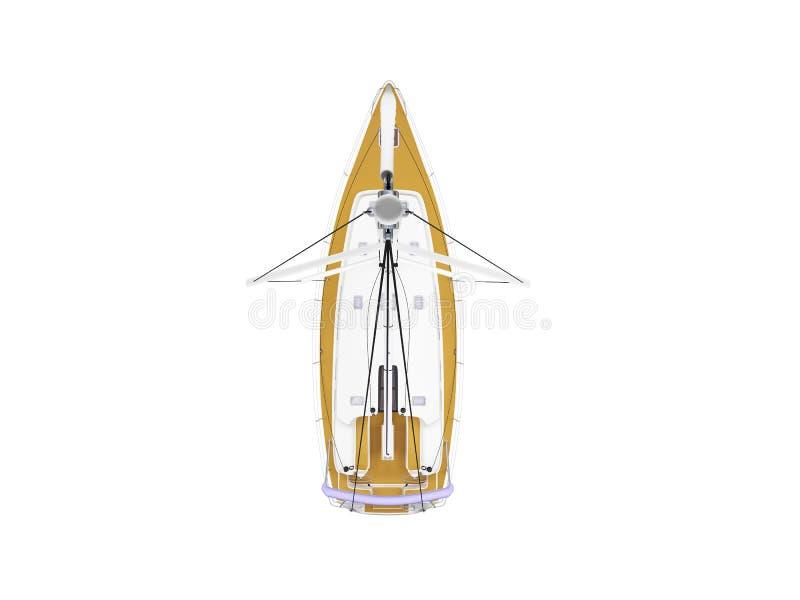 Opinião superior isolada barco da embarcação ilustração do vetor