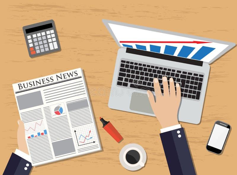 Opinião superior o gerente do local de trabalho que guarda o jornal ilustração do vetor