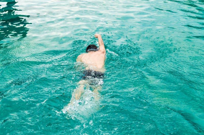 Opinião superior o homem caucasiano novo que nada o rastejamento dianteiro em uma piscina fotos de stock royalty free