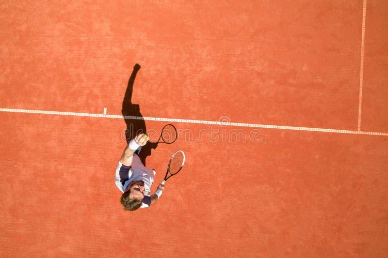 Opinião superior o jogador de tênis fotografia de stock