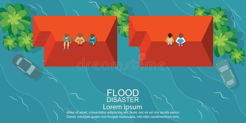 Opinião superior os povos que sentam-se no telhado da casa após o em da inundação da água ilustração royalty free