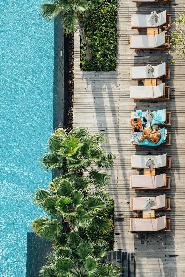 Opinião superior os turistas que sentam-se em cadeiras exteriores perto da piscina com as palmeiras na área do hotel fotos de stock