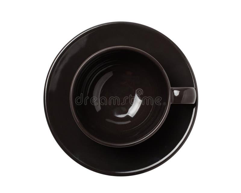 Opinião superior vazia de copo ou de xícara de chá de café preto isolada no fundo branco fotografia de stock