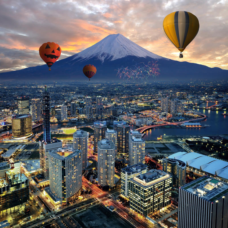 Opinião surreal da cidade de Yokohama foto de stock