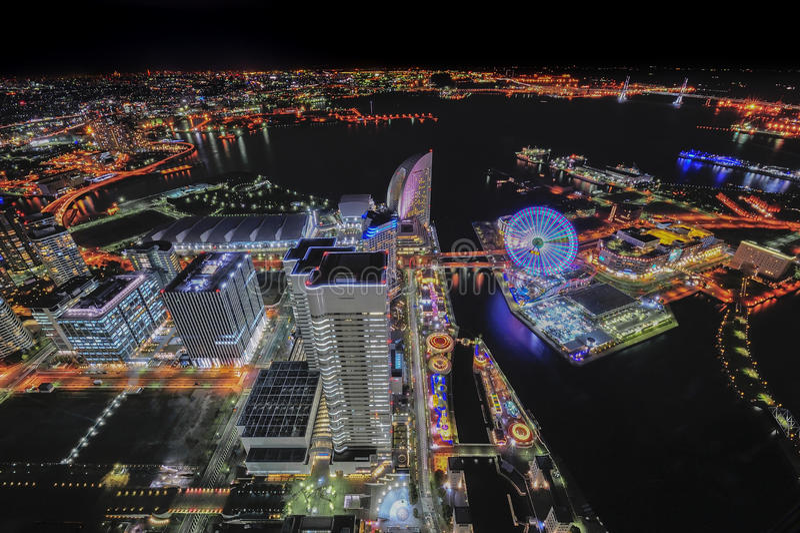 Opinião surreal da cidade de Yokohama fotografia de stock royalty free