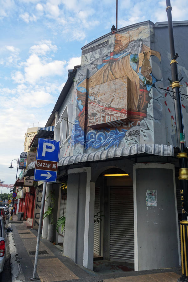 Opinião típica da rua do Local em Johor Bahru de Malásia fotos de stock royalty free