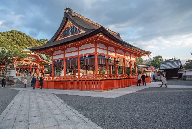 Opinião Tori Gate vermelha em Fushimi fotografia de stock