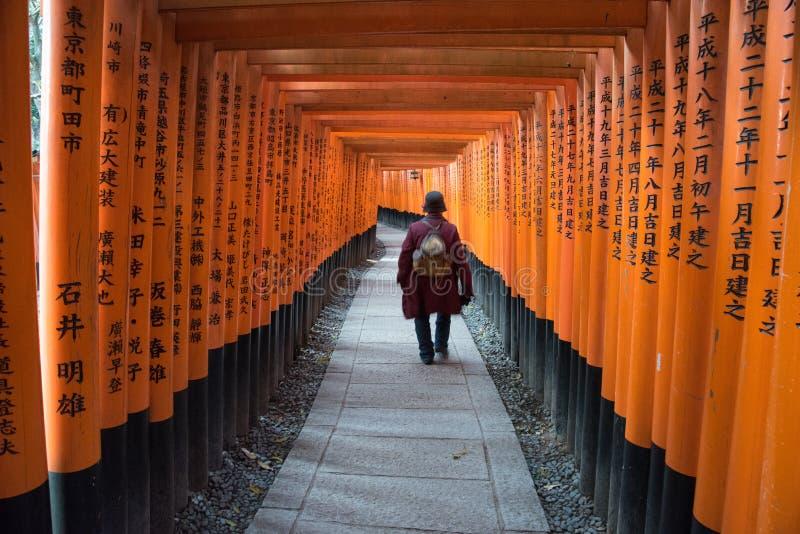 Opinião Tori Gate vermelha em Fushimi imagem de stock