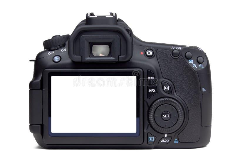 Opinião traseira da câmera de DSLR fotografia de stock