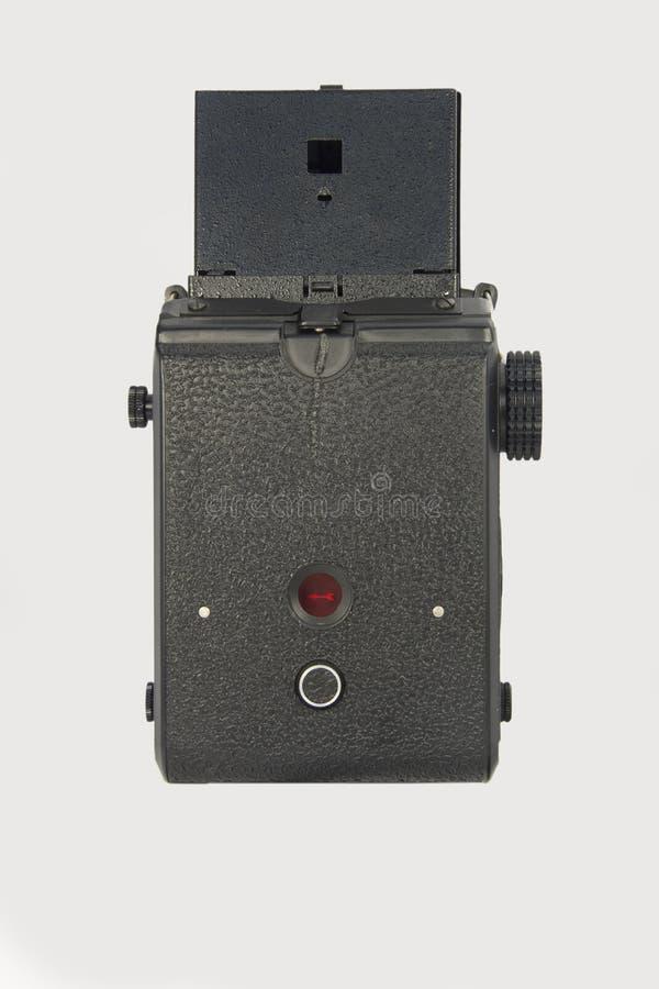 Opinião traseira da câmera do clássico 120mm TLR foto de stock